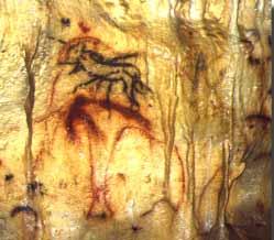 Homme fléché dans la grotte de Cougnac