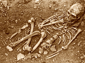 Squelette en place lors de sa découverte de l'homme de la Chapelle aux saints